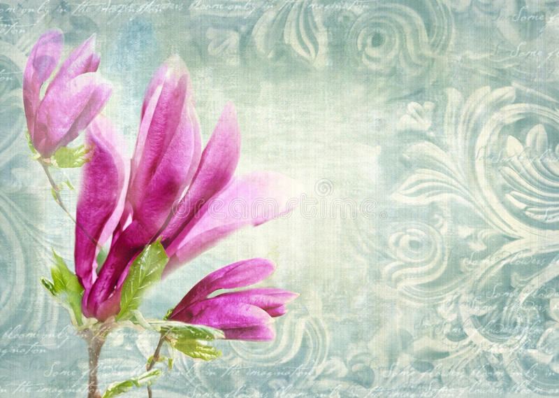 Architectural details. Antique wall in grunge style with meander, capitals, friezes and flower magnolia. stock photography