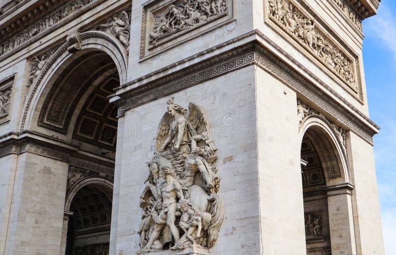 Architectural details of Arch of Triumph or Arc de Triomphe, Champs-Elysees in Paris France. April 2019 stock images