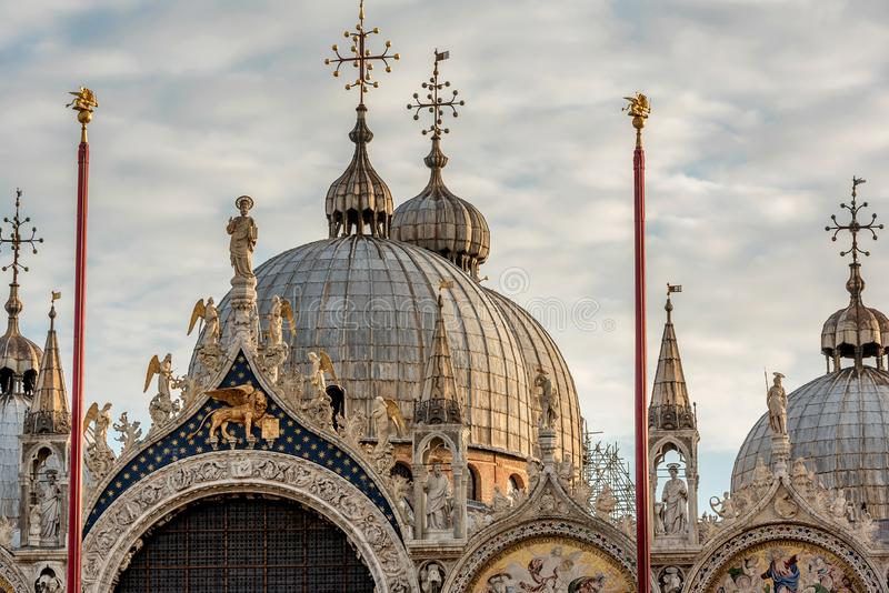 Architectural details of Basilica di San Marco at St. Marc square in Venice, Italy royalty free stock image