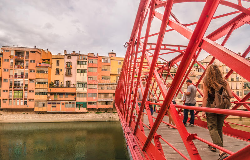 Architectural details - Bridge in Girona - Catalonia, not only Barcelona stock images
