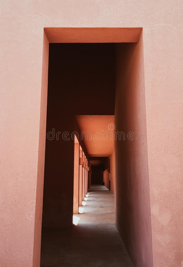 Architectural details of a corridor on a building royalty free stock photos