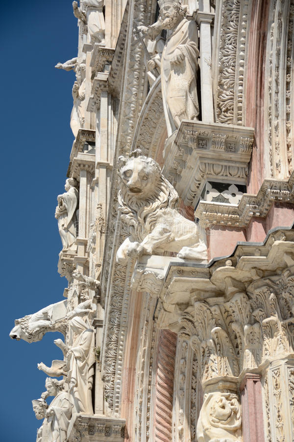 Architectural details of cathedral in Siena stock images