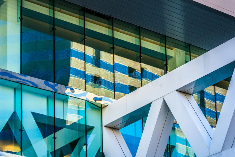 Architectural details of the Convention Center in Baltimore, Mar royalty free stock photography