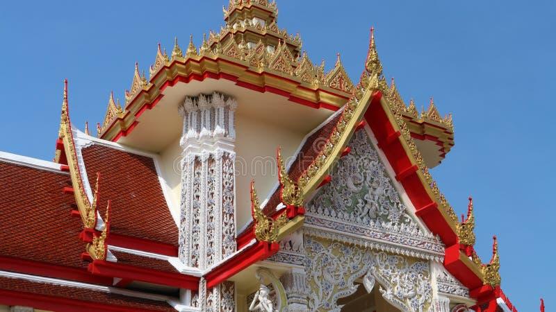 Architectural details of crematorium pavilion. At Buddhist temple in Thailand stock photos