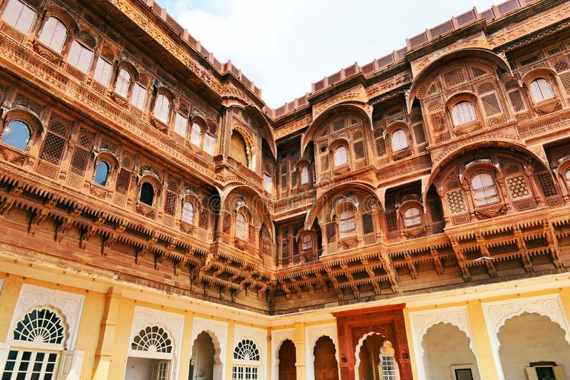 Architectural details and decoration inside the Mehrangarh Fort in Jodhpur, Rajastan Region, India. Scenic Architectural details inside the Mehrangarh Fort in stock images