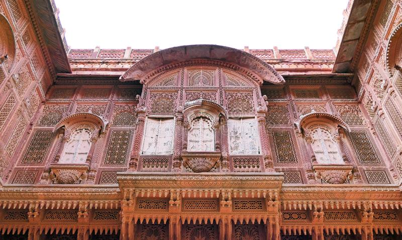 Architectural details and decoration inside the Mehrangarh Fort in Jodhpur, Rajastan Region, India. Scenic Architectural details inside the Mehrangarh Fort in royalty free stock photos