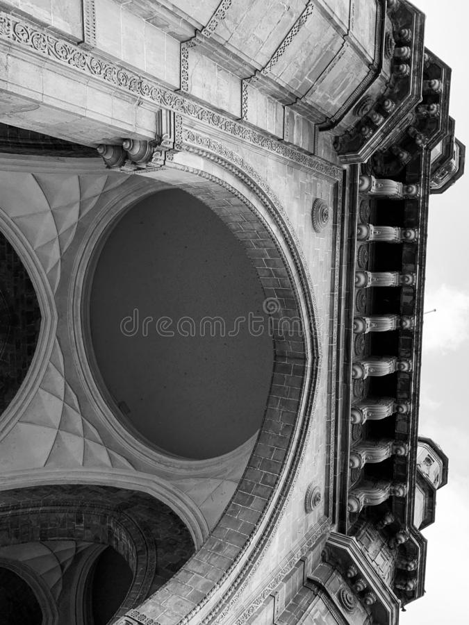 Architectural details on Gateway of India Monument, Mumbai. Architectural details on the Gateway of India monument situated at Apollo Bunder Mumbai India royalty free stock image