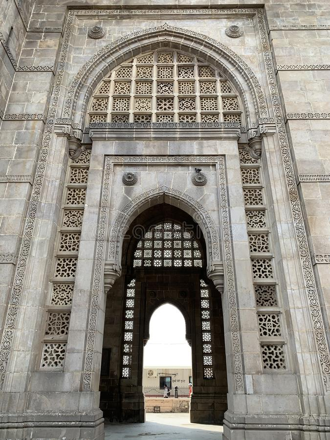 Architectural details, Gateway of India Monument, Mumbai. Architectural details on the Gateway of India Monument situated at Apollo Bunder Mumbai India stock photos