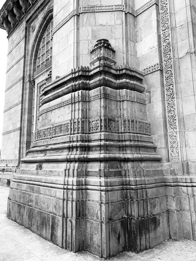 Architectural details on Gateway of India Monument, Mumbai. Architectural details on the Gateway of India monument situated at Apollo Bunder Mumbai India stock images