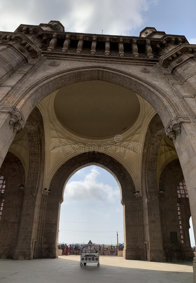 Architectural details, Gateway of India Monument, Mumbai. Architectural details on the Gateway of India Monument situated at Apollo Bunder Mumbai India stock photography