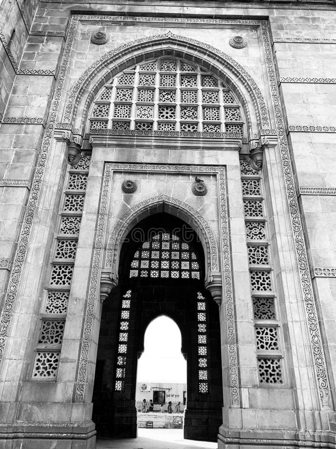 Architectural details, Gateway of India Monument, Mumbai. Architectural details on the Gateway of India Monument situated at Apollo Bunder Mumbai India stock photo
