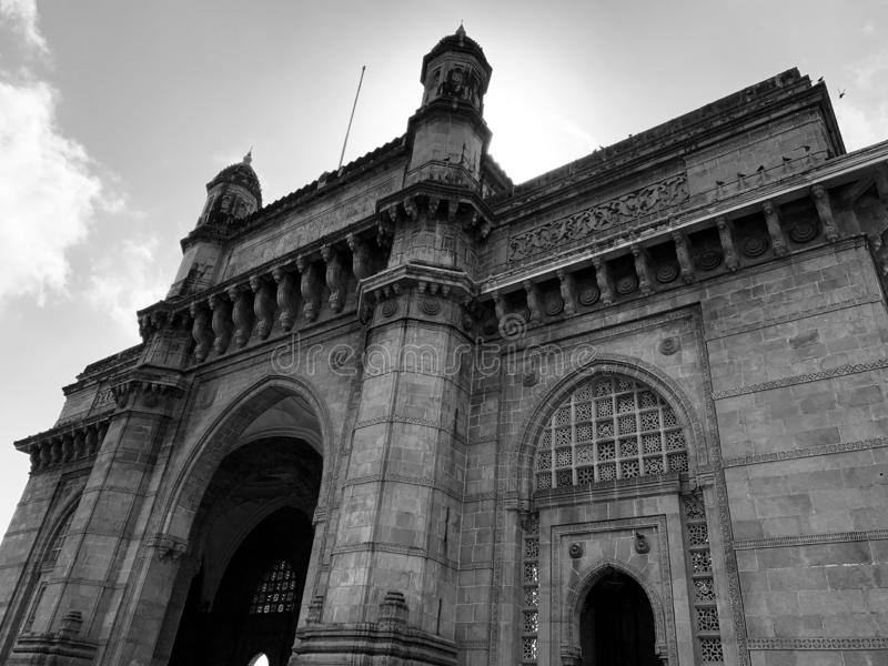 Architectural facade, Gateway of India Monument, Mumbai. Architectural details on the Gateway of India Monument situated at Apollo Bunder Mumbai India stock photo