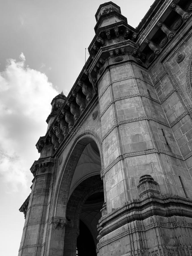Architectural details, Gateway of India Monument, Mumbai. Architectural details on the Gateway of India Monument situated at Apollo Bunder Mumbai India stock images