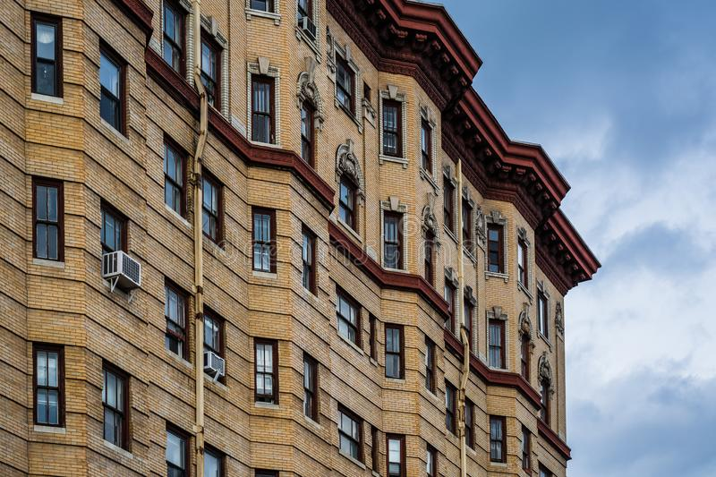 Architectural details of a historic highrise building, in Mount Vernon, Baltimore, Maryland royalty free stock photos