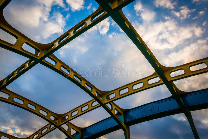Architectural details on the Howard Street Bridge, in Baltimore, Maryland. stock photo