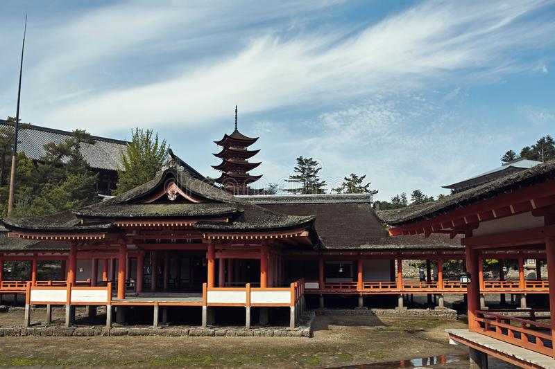 Itsukushima Shrine on a beautiful clear day stock images