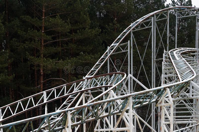 Architectural details of the metallic structure of a big ferris wheel. Old, rustic carousel details at circus outdoor.  stock photos