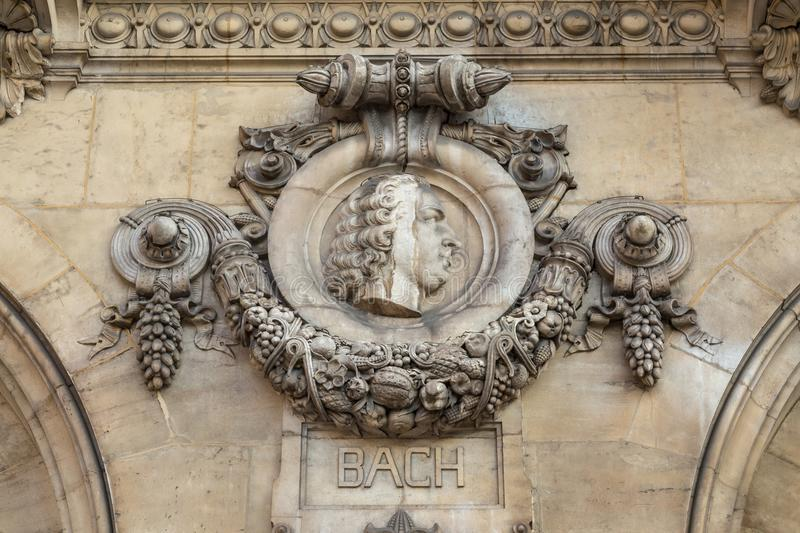 Architectural details of Opera National de Paris: Bach Facade sculpture. Grand Opera is famous neo-baroque building in. Paris, France - UNESCO World Heritage royalty free stock image