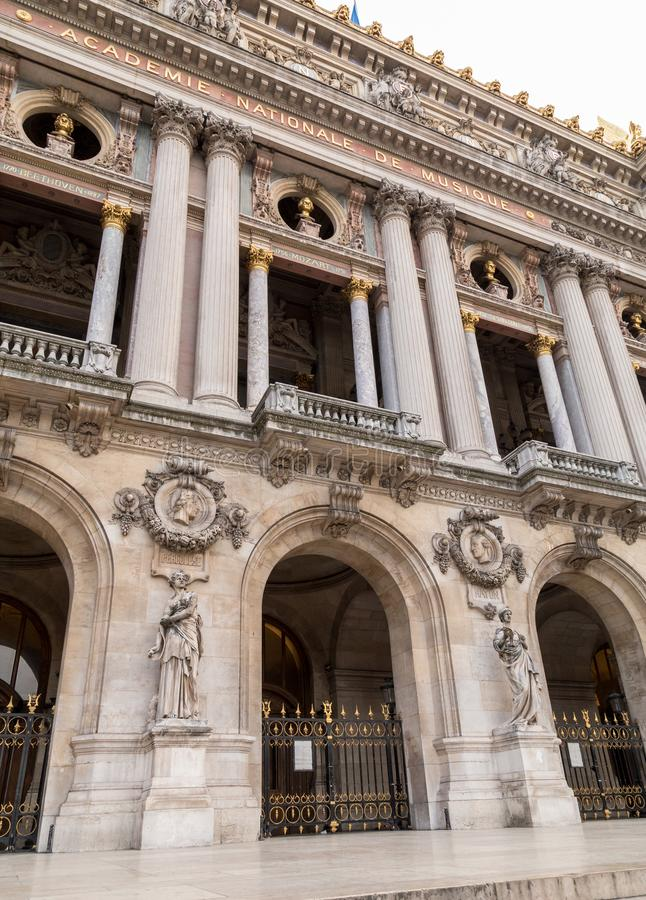 Architectural details of Opera National de Paris. Grand Opera Garnier Palace is famous neo-baroque building in Paris. France - UNESCO World Heritage Site stock photo