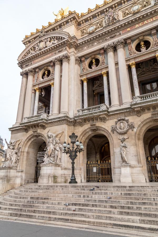 Architectural details of Opera National de Paris. Grand Opera Garnier Palace is famous neo-baroque building in Paris. France - UNESCO World Heritage Site royalty free stock photos