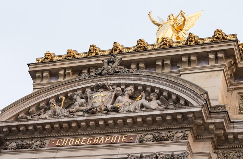 Architectural details of Opera National de Paris. Grand Opera Garnier Palace is famous neo-baroque building in Paris. France - UNESCO World Heritage Site royalty free stock photography
