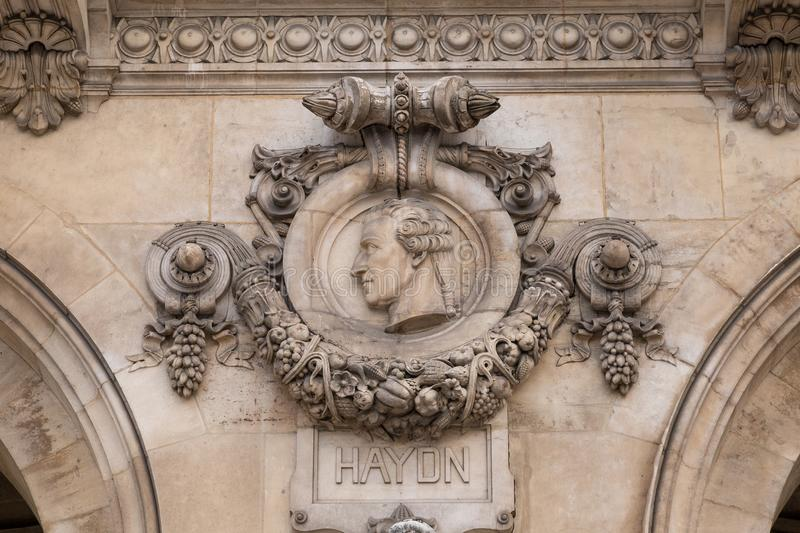 Architectural details of Opera National de Paris. Grand Opera Garnier Palace is famous neo-baroque building in Paris. France - UNESCO World Heritage Site stock image