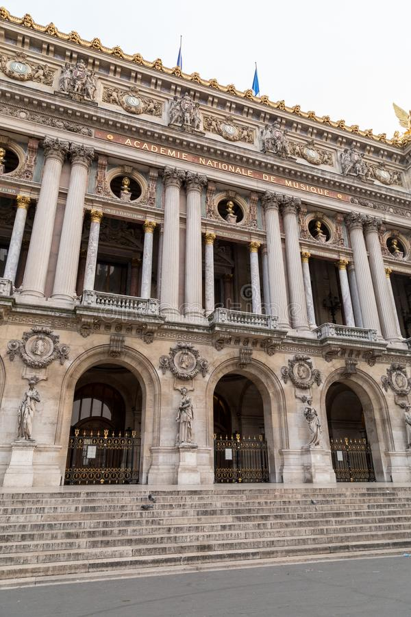 Architectural details of Opera National de Paris. Grand Opera Garnier Palace is famous neo-baroque building in Paris. France - UNESCO World Heritage Site royalty free stock image