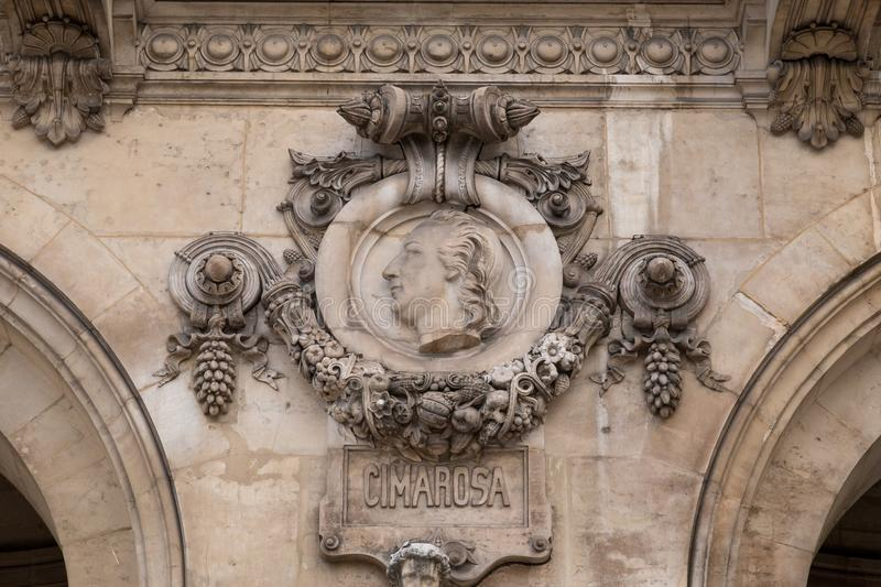 Architectural details of Opera National de Paris. Grand Opera Garnier Palace is famous neo-baroque building in Paris. France - UNESCO World Heritage Site royalty free stock images