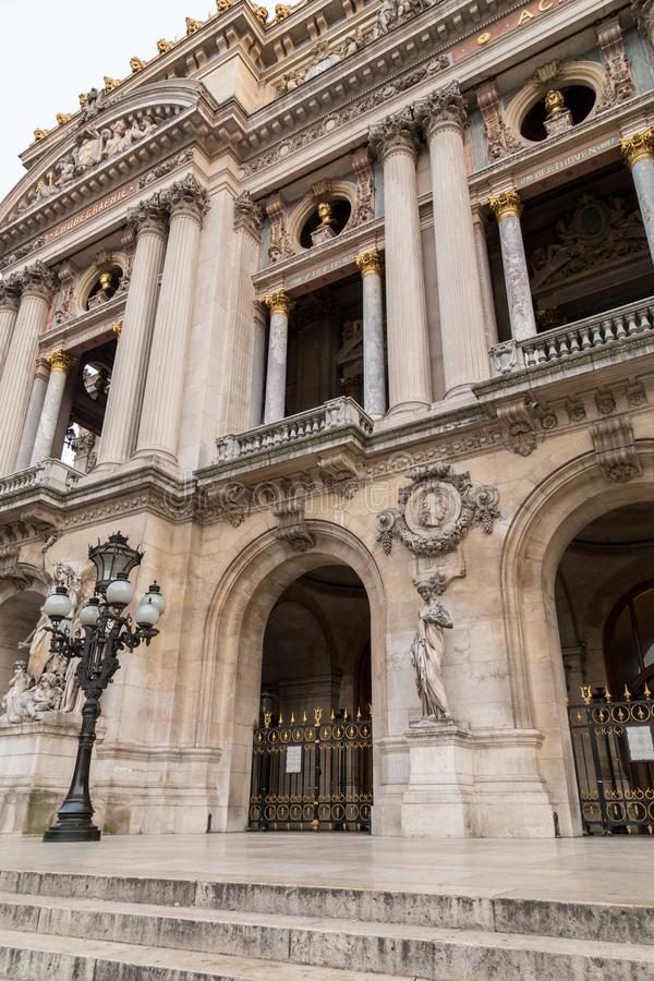 Architectural details of Opera National de Paris. Grand Opera Garnier Palace is famous neo-baroque building in Paris. France - UNESCO World Heritage Site royalty free stock photo