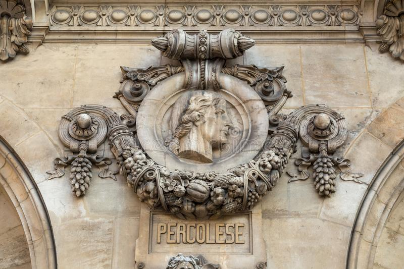 Architectural details of Opera National de Paris: Percolese Facade sculpture.Grand Opera is famous neo-baroque building. In Paris, France. UNESCO World Heritage royalty free stock photography