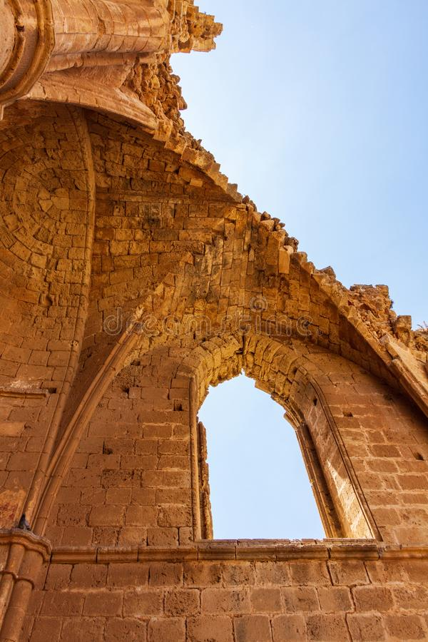 Architectural details of St George of the Greeks Church, inside. Medieval Famagusta, island of Cyprus royalty free stock photo
