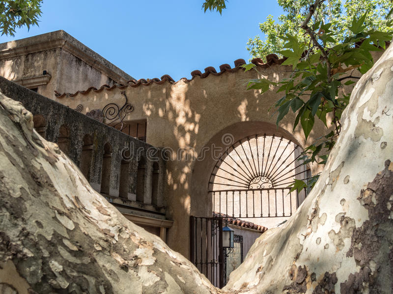 Architectural details, Tlaquepaque in Sedona, Arizona. Old Mexico architecture, Tlaquepaque Arts and Crafts Village in Sedona, Arizona stock image