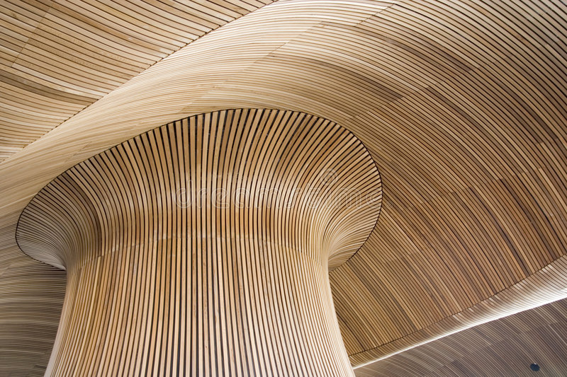 Architectural details of Welsh Assembly building stock photo