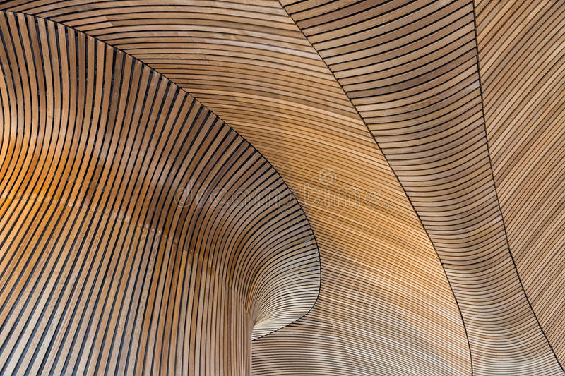 Architectural details of Welsh Assembly building. Wooden planks royalty free stock photography