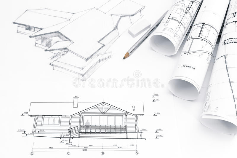 Architectural Drawing With Blueprints And Rolls Stock Image - Image ...