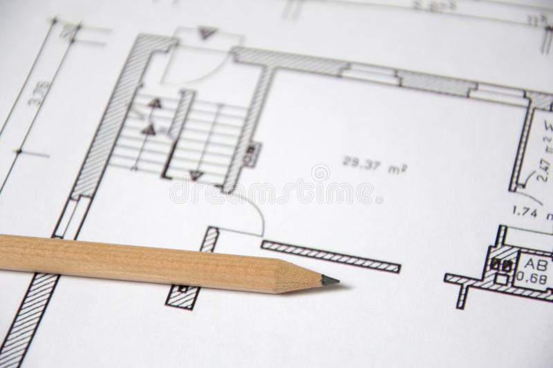 Architectural drawing. Detail of an Architectural drawing royalty free stock photo