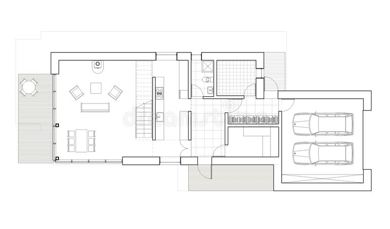 Drawing - floor plan of the single family house with garage. Architectural drawing. Ground floor plan of the modern single family house. Big living room, sauna royalty free illustration