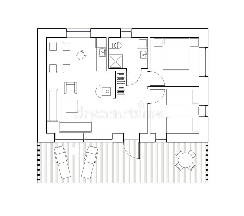 Drawing - isolated floor plan of the single family house. Architectural drawing. Ground floor plan of the modern single family house or bungalow. Big living room royalty free illustration