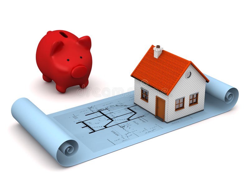 Architectural Drawing House Piggy Bank. Architectural drawing in blue color with small house with red piggy bank on the white background stock illustration