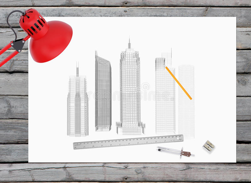 architect office supplies. Download Architectural Drawing And Office Supplies On The Stock Illustration - Of Wireframe, Lumber Architect
