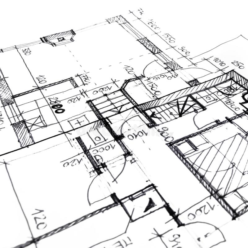 architectural drawing plan of house project - architecture, engineering and real estate styled concept stock illustration