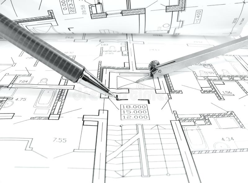 architectural drawing plan of house project - architecture, engineering and real estate styled concept royalty free stock images