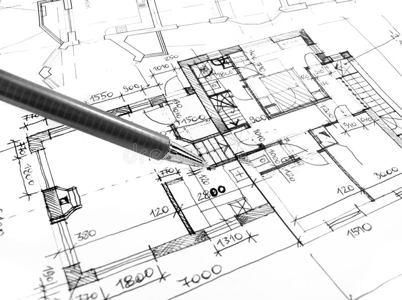 Architectural drawing plan of house project - architecture, engineering and real estate styled concept. Elegant visuals stock photos
