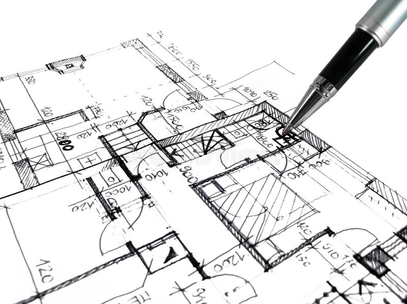 Architectural drawing plan of house project - architecture, engineering and real estate styled concept. Elegant visuals royalty free stock image
