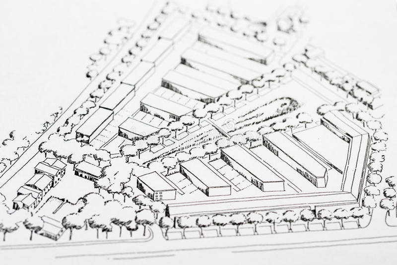 Architectural Drawing. Urban planning, idea shown by a sketch of architectural arrangements of a compact housing area stock photos