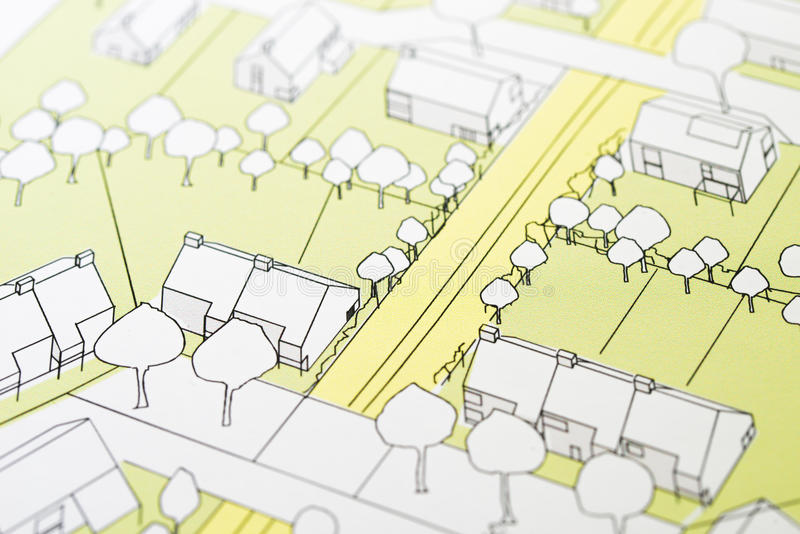 Architectural Drawing. Urban planning of a living area, idea shown by a sketch of architectural arrangements of Homes, development plan stock photos