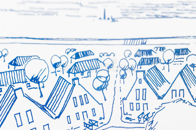 Architectural Drawing. Urban planning of a recreation area, idea shown by a sketch of architectural arrangements of small holiday cottages at the coast royalty free stock images