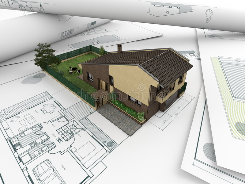 Architectural drawings and house_2 stock illustration