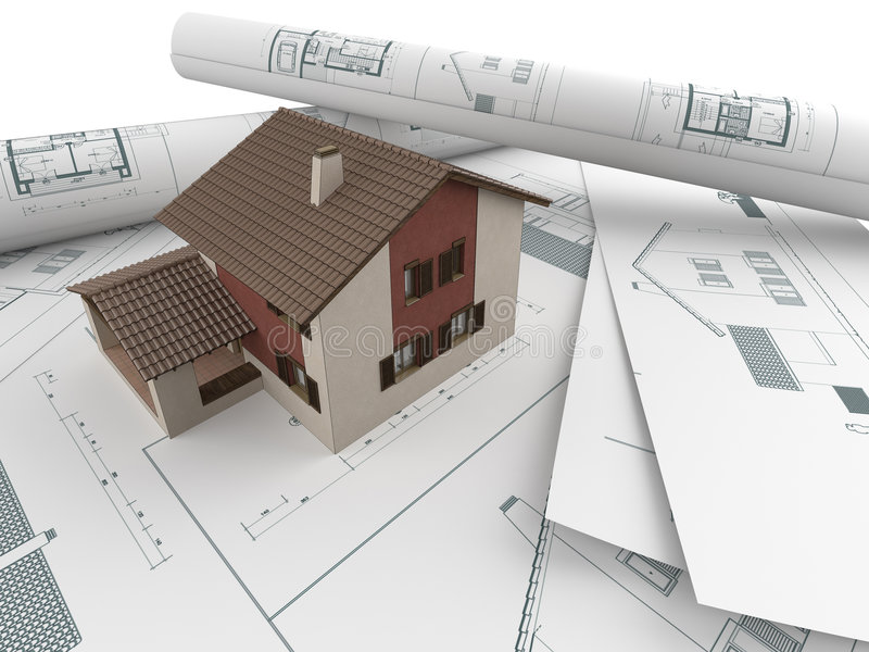 Architectural drawings and house. 3d house model emerging from architectural drawings stock illustration