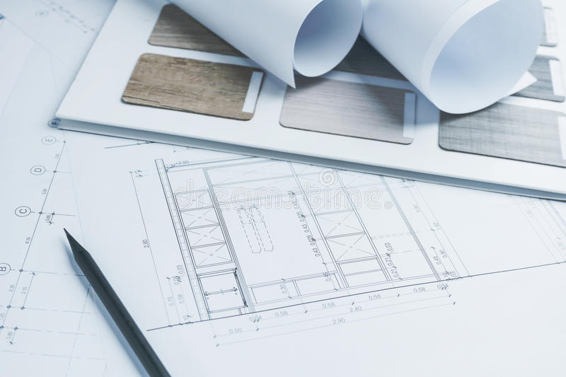 Architectural drawings paper with color and material samples for. Construction stock images